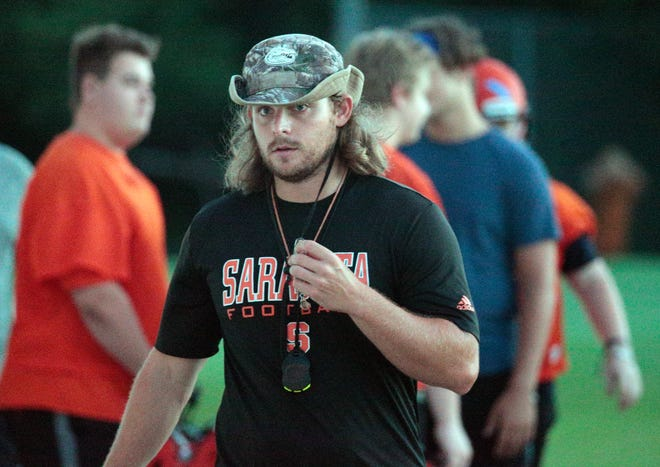 Sarasota High takes the field for its first official practice of the fall season Monday morning under first-year head coach Brody Wiseman. DENNIS MAFFEZZOLI / HERALD-TRIBUNE