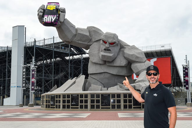 NASCAR Cup Series driver Jimmie Johnson was honored in his final season by having his No. 48 Ally car installed into the waiting hand of the Monster Monument at Victory Plaza, presented by Ally, before the races this past weekend at Dover International Speedway.
