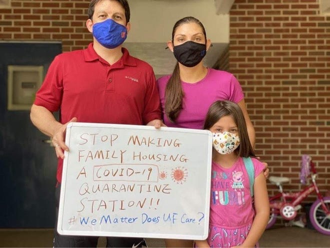 A family of tenants from UF Graduate and Family Housing, who did not want to be named because they feared interference with their visas, joined the social media campaign to push UF officials to move COVID-19 quarantine rooms elsewhere.