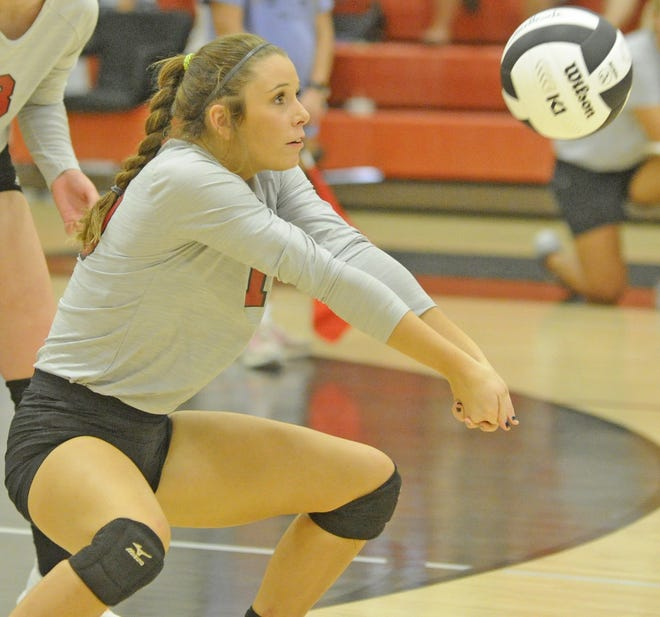 Southside's Sydney Yancey bumps the ball against Hokes Bluff during a high school volleyball match at Southside High School on Oct. 10, 2019.