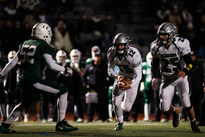 Kai Colon (12), who accounted for 25 touchdowns in Minisink Valley's run to the 2019 Section 9 Class A championship game, has transferred to Paramus Catholic (N.J.) for his junior season. KELLY MARSH/FOR THE TIMES HERALD-RECORD