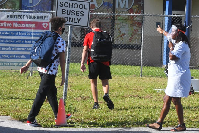 Ronald McNair Middle Magnet School in Rockledge on Monday, August 24. Brevard public schools have reopened with precautions in place due to the coronavirus.
