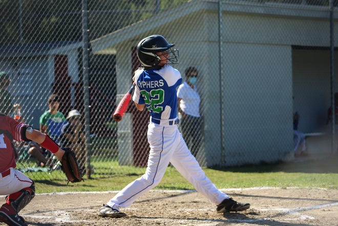 Colchester's Sawyer Cyphers had a three-run double in Saturday's 16-2 win over Shelburne in the 11- and 12-year-old Little League District I championship game.