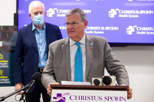 Corpus Christi Mayor Joe McComb with U.S. Senator John Cornyn (R-TX)  talks with during a press conference talking about how the CARES Act at CHRISTUS Spohn Shoreline Hospital on Monday, Aug. 24, 2020.