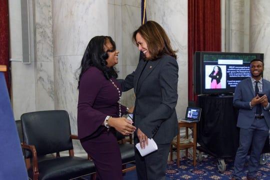 Camden native Yasmin Rigney Nelson (left) works as a senior policy adviser for Senator Kamala Harris.