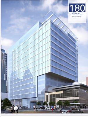 Rendering of the 180 Building, set for The Banks along Cincinnati's riverfront.