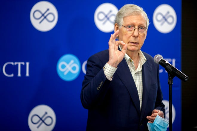 U.S. Senate Majority Leader Mitch McConnell speaks at a press conference with CTI CEO Tim Schroeder at the CTI clinical trials and consulting services offices in Covington, Kentucky on Monday, August 24, 2020.
