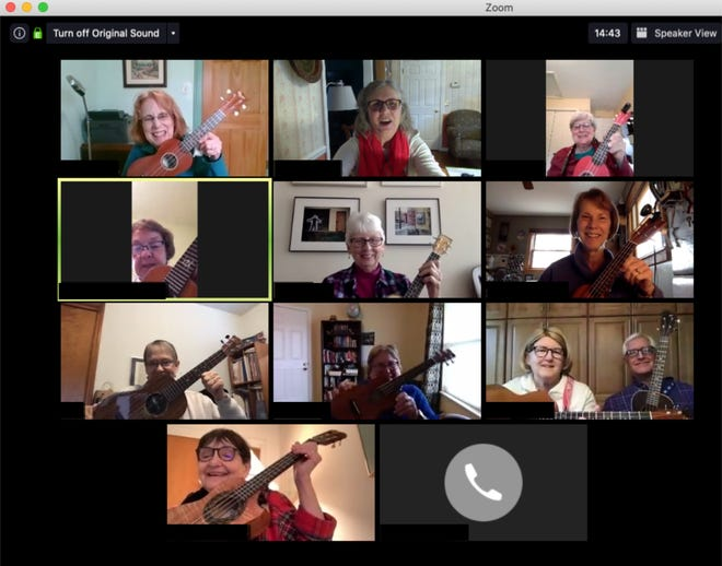 A group of East Lansing area ukulele players and friends are pictured during one of their weekly Zoom strums, which they started during novel coronavirus pandemic.    Pictured top row: Mary Brown (left), Marge Pestka  and Cyndi Mark. Second row: Next row down: Anne Davich, Connie Page and Rose Robertson. Third row: Nan Barone, Kathy Long, and Lynn and Don Forsblom. Fourth row: Nancy Pogel, with Liz Wright by phone.