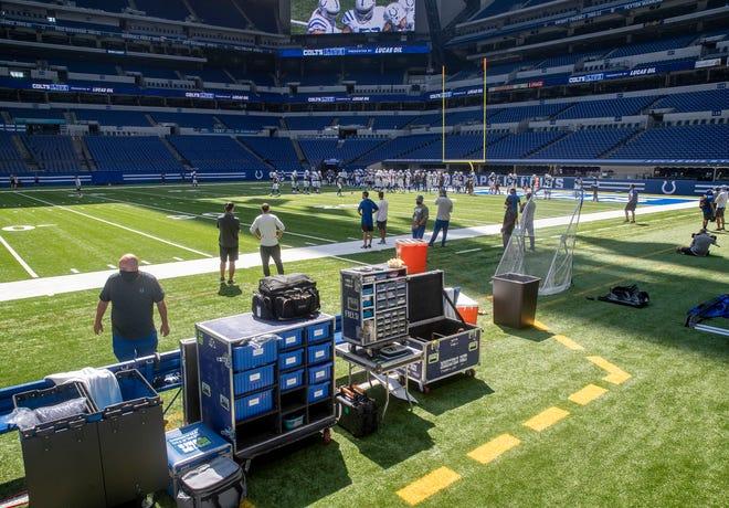 Colts team practice at Lucas Oil Stadium, Monday, Aug. 24, 2020.
