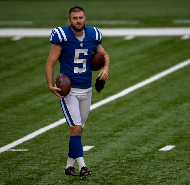 Chase McLaughlin, kicker, during Colts practice at Lucas Oil Stadium, Monday, Aug. 24, 2020.