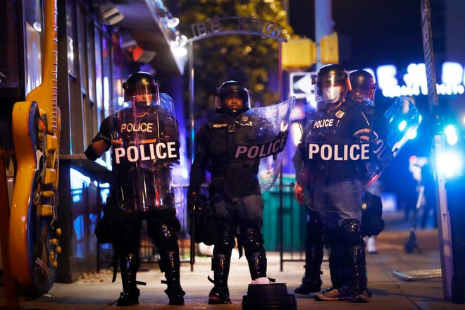 The fourth night of demonstrations in Memphis, Tenn., on Saturday, May 30, 2020, saw protesters face off with police in riot gear near the Orpheum on South Main Street. The protests are in reaction to the death of George Floyd, an unarmed black man who died after being pinned down by a white Minneapolis police officer on Memorial Day.