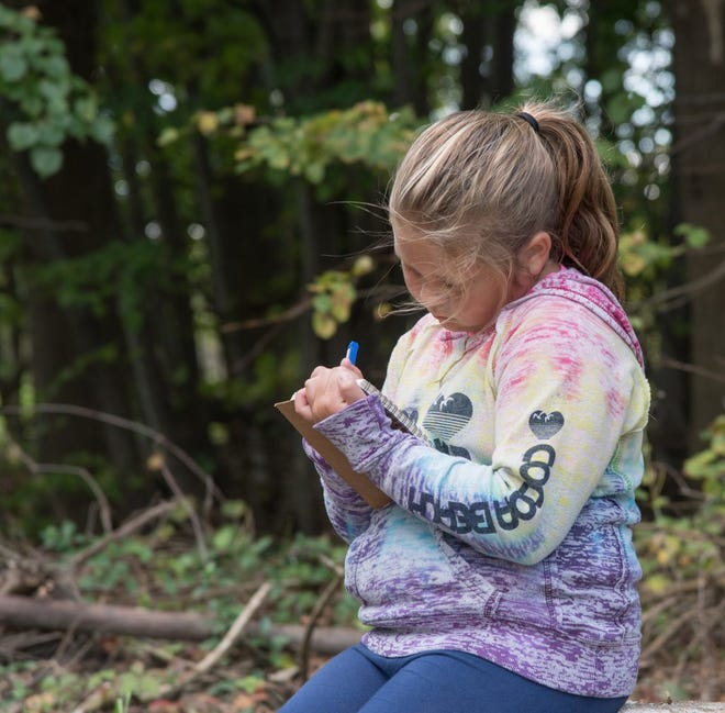 A girl journals in Dutro-Ernst Woods, one of Red-tail Land Conservancy's nature preserves.