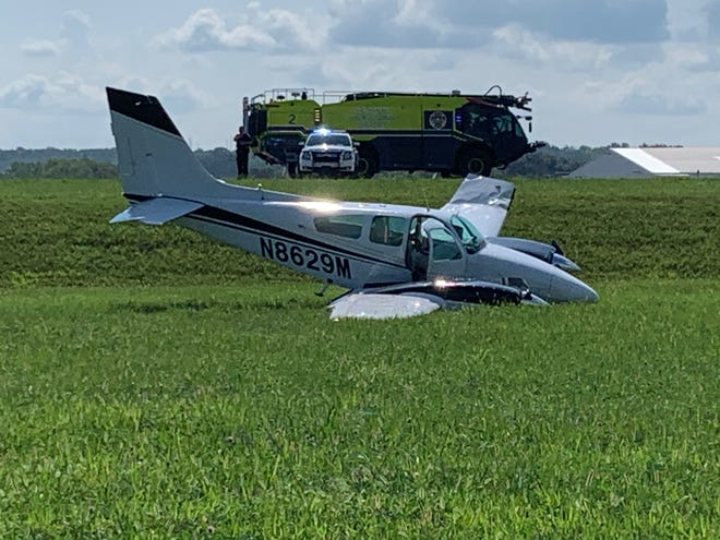 A small plane skidded off the runway Aug. 24 at Nashville International Airport.