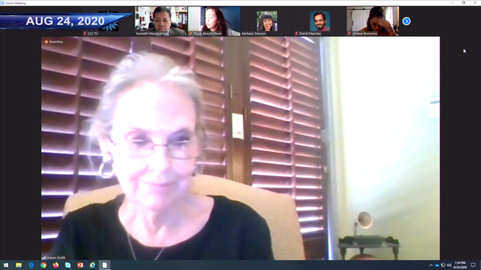 Barbarah Wilbanks, the former president of the Professional Assessment Center, speaks at a virtual work session about her uncashed check from 2000 on Aug. 24, 2020.