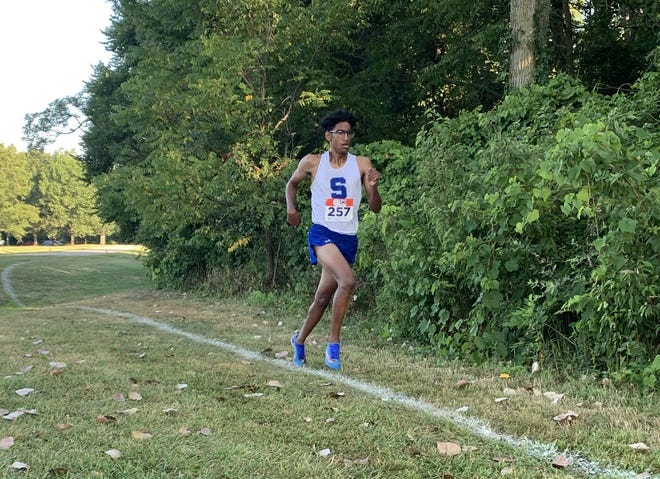 Salem senior Talha Syed finished in first place at the first meet of the season, finishing the race in 16:03.60 against Livonia Franklin.