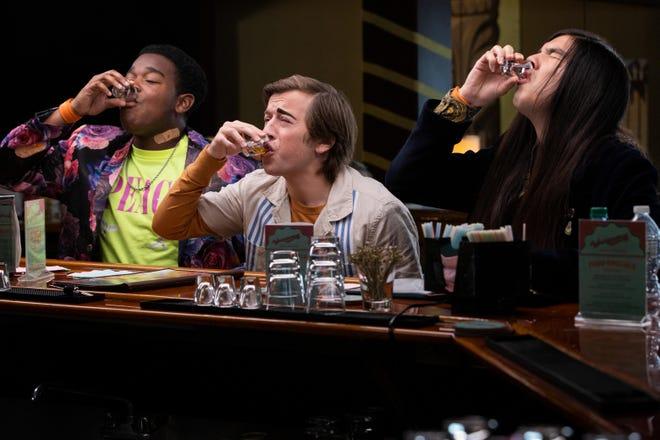 Hags (Dexter Darden), Griffin (Skyler Gisondo) and Andrew (Eduardo Franco) do shots in 'The Binge.'