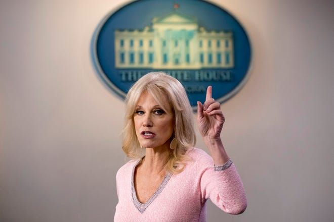 FILE - In this Dec. 5, 2019, file photo, Kellyanne Conway speaks in the Briefing Room at the White House in Washington. Conway, one of President Donald Trump's most influential and longest serving advisers, announced Sunday, Aug. 23, 2020, that she would be leaving the White House at the end of the month. Conway, who was Trump's campaign manager during the stretch run of the 2016 race, was the first woman to successfully steer a White House bid before becoming a senior counselor to the president. She informed Trump of her decision in the Oval Office. (AP Photo/Andrew Harnik, File)