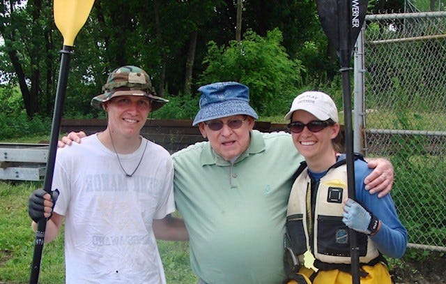 Meredith Holt Grim, far right, and her younger brother, Nick, paddled the entire length of the Susquehanna River in 2009. Their grandfather met them as they finished at Havre de Grace, Md. at the mouth of the Chesapeake Bay.