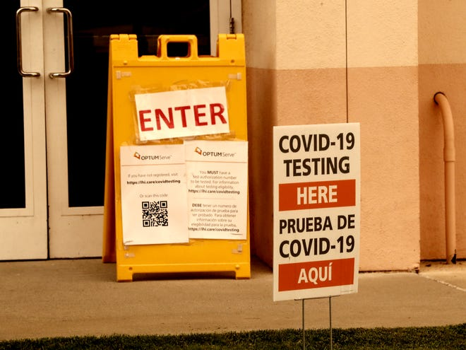 Signs point the way to Tehama County's clinic for COVID-19 testing on Thursday, Aug. 20, 2020, behind the Red Bluff Community & Senior Center off South Jackson Street.