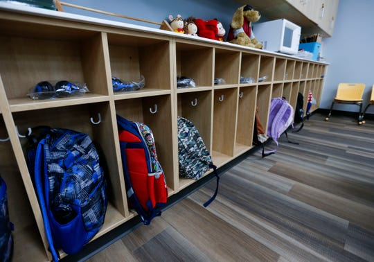 Cubbies of students' belongings at the new Delaware Elementary on the first day of school on Monday, Aug. 24, 2020.