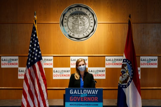 Missouri Auditor and candidate for governor (D) Nicole Galloway speaks at Missouri State University on Monday, Aug. 24, 2020.