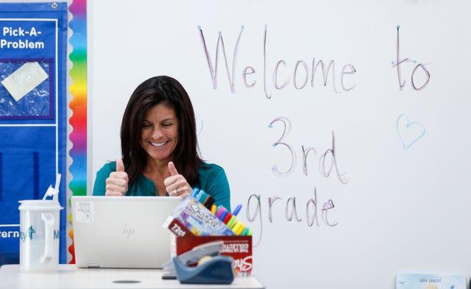 Delaware Elementary teacher Melanie Miller teaches a third grade class online on the first day of school Aug. 24, 2020.