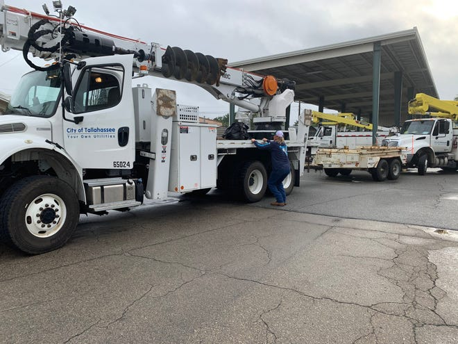 About 25 line workers for the city of Tallahassee Electric Utility left Monday to position themselves ahead of Tropical Storms Marco and Laura. They will help the public utility in Lafayette, Louisiana, make repairs once the storms move through.