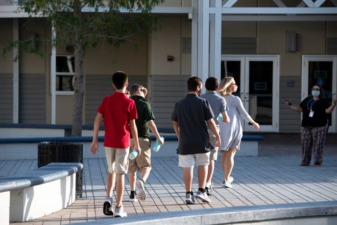 Exceptional student education teacher Stephanie Smeltzer (second from right) leads a group of students across campus at Storm Grove Middle School on the first day of school Monday, Aug. 24, 2020 in Indian River County. Masks are required of students and staff, though mask breaks will be an option.
