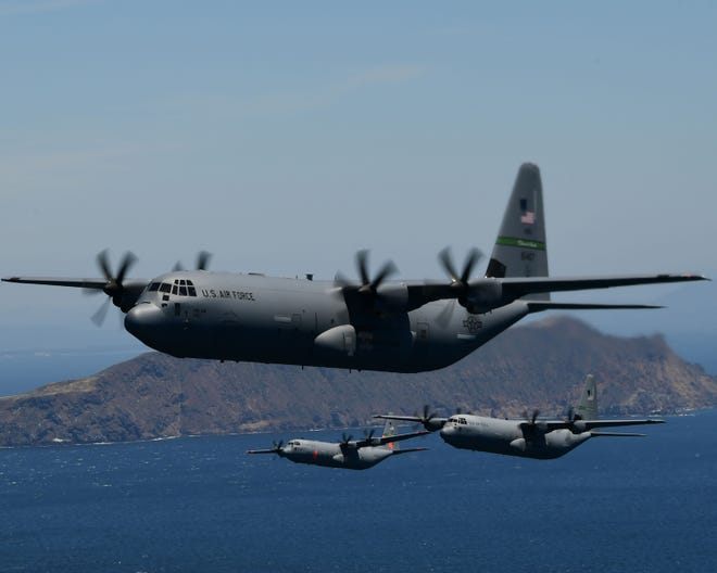 Four U.S. Air National Guard C-130J Super Hercules cargo aircraft from the California Air National Guard's 115th Airlift Squadron, 146th Airlift Wing, Port Hueneme, California, fly in formation during low-level tactical training near Anacapa Island, California, May 14, 2020. The tactical training was combined with a flyover salute by the military to honor medical professionals and other essential workers serving on the front line of the COVID-19 pandemic. U.S. Air National Guard photo Tech. Sgt. Nieko Carzis.