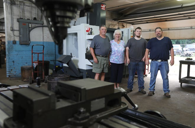 H&R Tool and Machine in Zanesville has three generations of the Hill Family at the helm. William, left, purchased the business with his wife Charlene in 1972. Their son Doug and grandson Wade now work there too.