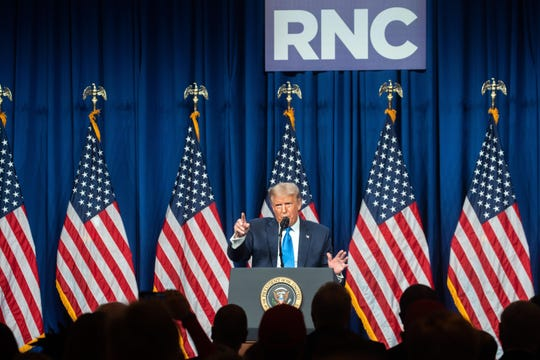 President Donald Trump speaks at the Republican National Convention in Charlotte, N.C., Monday August, 24, 2020. President Trump made a surprise visit to the RNC to accept the nomination in person after the coronavirus pandemic forced the GOP to scale back their convention.