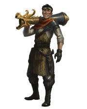 A human artificer balances his Eldritch Cannon on his shoulder.