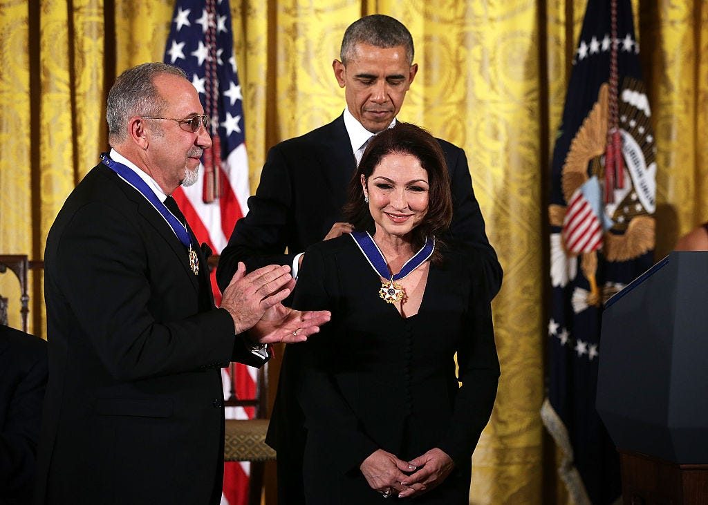 Gloria Estefan says one of her proudest moments was when she and husband Emilio were awarded the Presidential Medal of Freedom in 2015 by President Barack Obama.