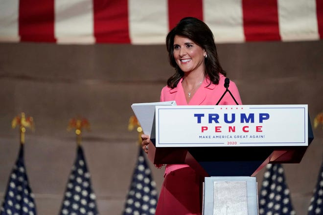 Former U.N. Ambassador Nikki Haley leaves after speaking during the Republican National Convention from the Andrew W. Mellon Auditorium in Washington on Monday.