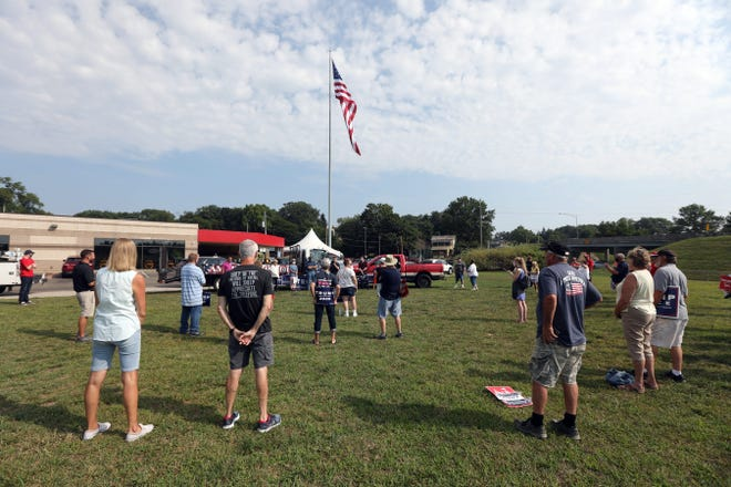 Trump supporters spread out across the grounds of American Pride in Zanesville on Tuesday, during a rally in support of the President and local Republican candidates.
