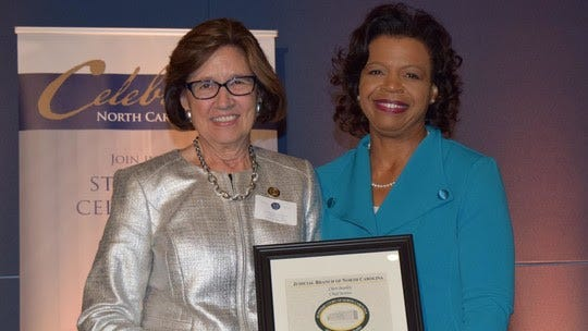 Women judges and justices are honored for Women's Equality Day, Aug. 26, which this year marks the centennial of the 19th Amendment's ratification. Pictured are Chief Judge Linda McGee (left) and Chief Justice Cheri Beasley.