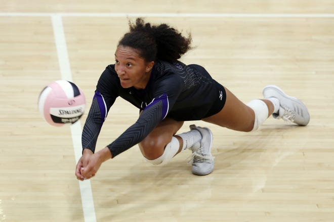 Burlington High School's Madison Bunton (10) dives after the ball to keep it in play during the match against Fort Madison High School Sept. 10, 2019 at Burlington.