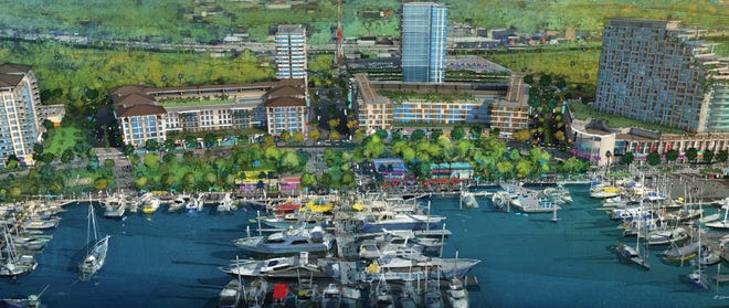 A 2015 rendering shows how The District on the Southbank would have marina along with residential and office buildings on 32 acres of land that is vacant now.