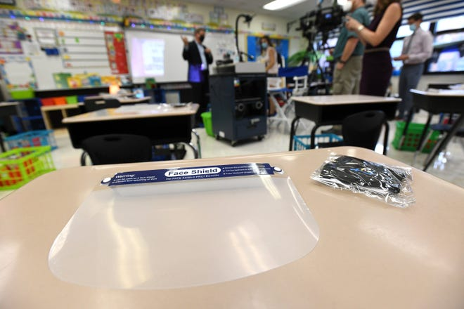 As shown during an Aug. 18 media tour, face shields and masks greeted first-grade students when they entered their Fishweir Elementary School classrooms Aug. 20.
