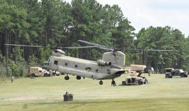 Soldiers with 2nd Brigade Combat Team, 101st Airborne Division (Air Assault) practice sling load operations at Fort Polk's Self Army Airfield prior to air assault operations Aug. 17.