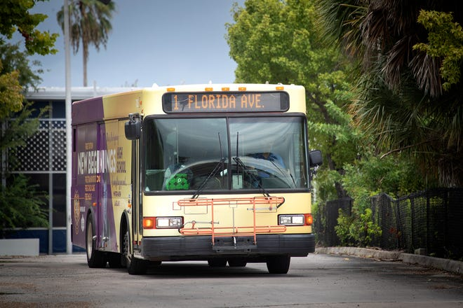 Citrus Connection bus in downtown in Lakeland, Florida. The public transit agency will be forced to postpone is planned Saturday service expansion over a union dispute until mid-November.   ERNST PETERS/THE LEDGER