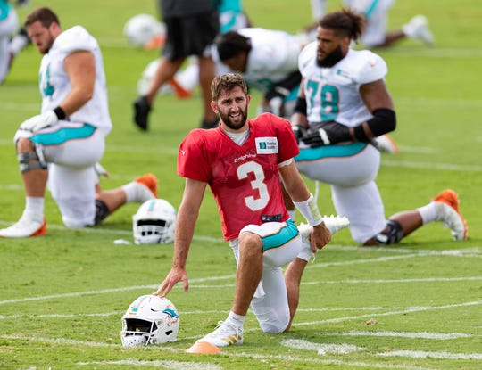 Quarterback Josh Rosen (3) at Dolphins training camp on August 25.