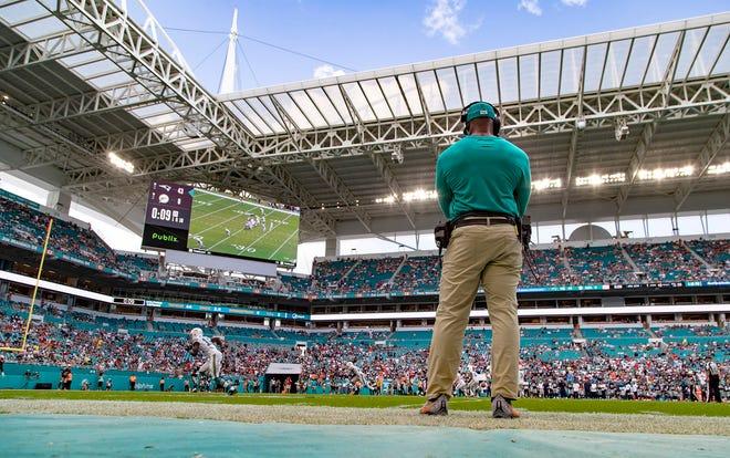 Miami Dolphins head coach Brian Flores.  [ALLEN EYESTONE/The Palm Beach Post]