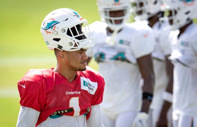 Miami Dolphins quarterback Tua Tagovailoa (1) at Miami Dolphins training camp August 25, 2020. [ALLEN EYESTONE/The Palm Beach Post]