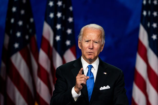 Joe Biden accepts the Democratic nomination for president at the Chase Center in Wilmington, Del., on Aug. 20.  (Erin Schaff/The New York Times)