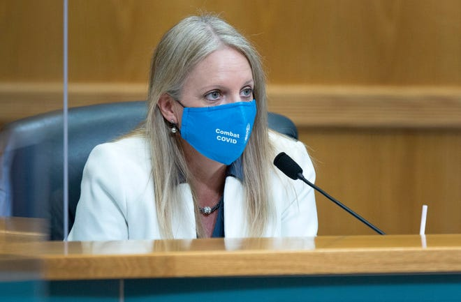 County Commissioner Melissa McKinlay listens Aug. 25 as the Palm Beach County Commission considers Phase 2 of reopening amid the coronavirus pandemic.