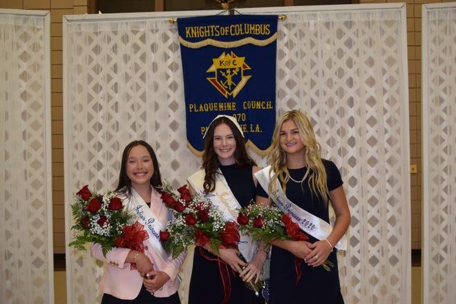 rom left: Kathryn Perry, First Runner up; Emma Hargrove, 2020 Evangeline; Dannie Durand, Second Runner Up.