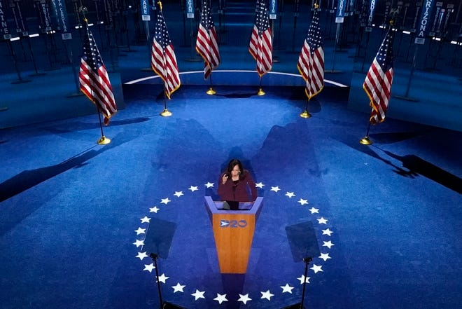 Vice presidential candidate Kamala Harris speaks during the Democratic National Convention.