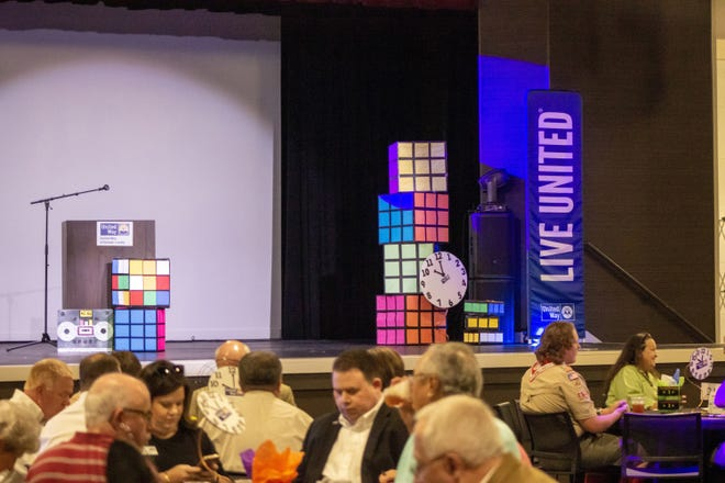 Clocks, Rubik's cubes and cassette tapes decorated last year's kickoff luncheon held by the United Way of Etowah County. This year's kickoff will be a drive-thru event because of the COVID-19 pandemic