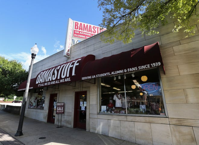 Bamastuff on The Strip was added to the National Registry of Historic Places.  The store, seen Monday, August 24, 2020, features an art deco style and was designed and built in the same year and by the same architect as the Bama Theatre. [Staff Photo/Gary Cosby Jr.]